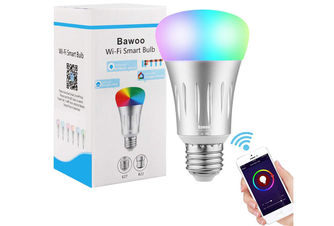 Bombilla Inteligente Wifi LED E27, Bawoo 7W RGBW Amazon Alexa