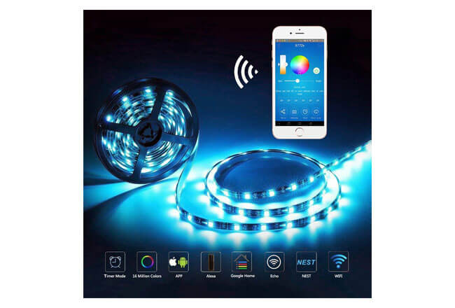 Guaiboshi Tira Led 5m inteligente impermeable wifi controlador Amazon Alexa