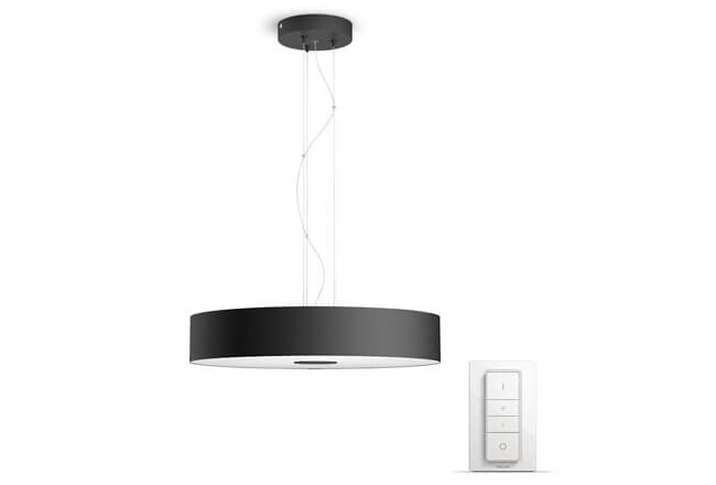 Lámpara colgante LED negra con mando Philips Hue White ambiance Being
