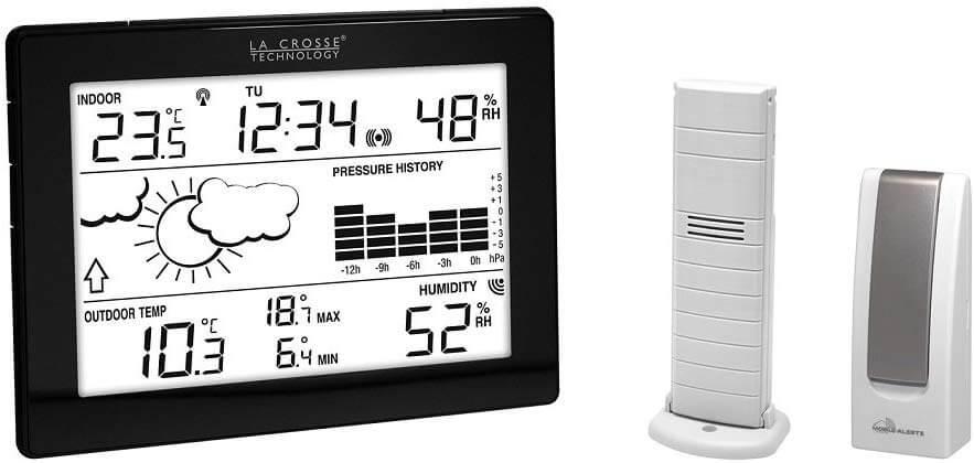La Crosse Technology MA10006-BLA estación meteorológica con Puente para Smartphone/Tablet Negro